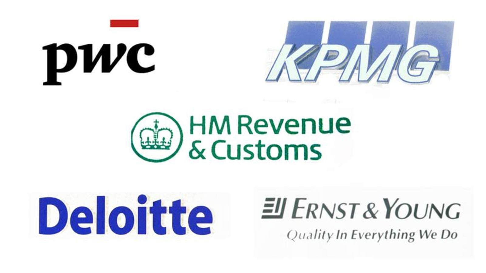 A pictures showing the logos of the big four accountants and HMRC