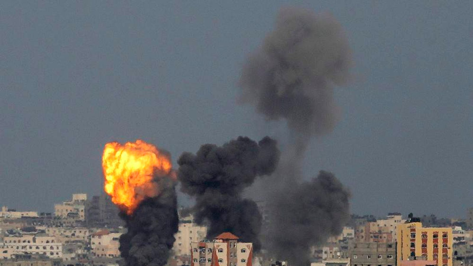 An explosion is seen in the northern Gaza Strip after an Israeli air strike