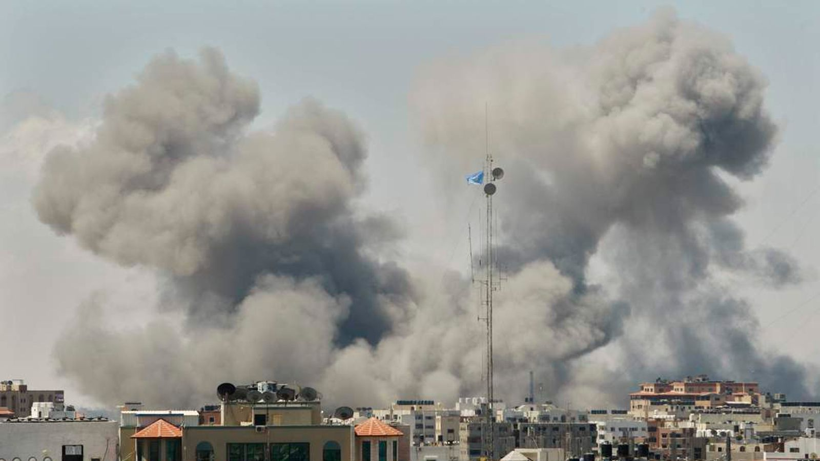 Smoke rises following what witnesses said were Israeli airstrikes in Gaza City