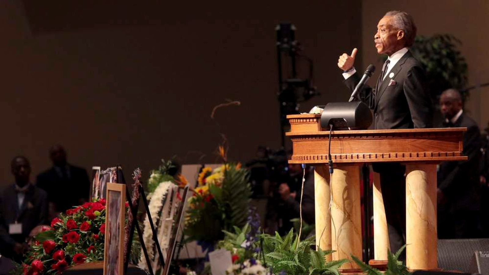Rev Al Sharpton at the funeral of Michael Brown in St Louis