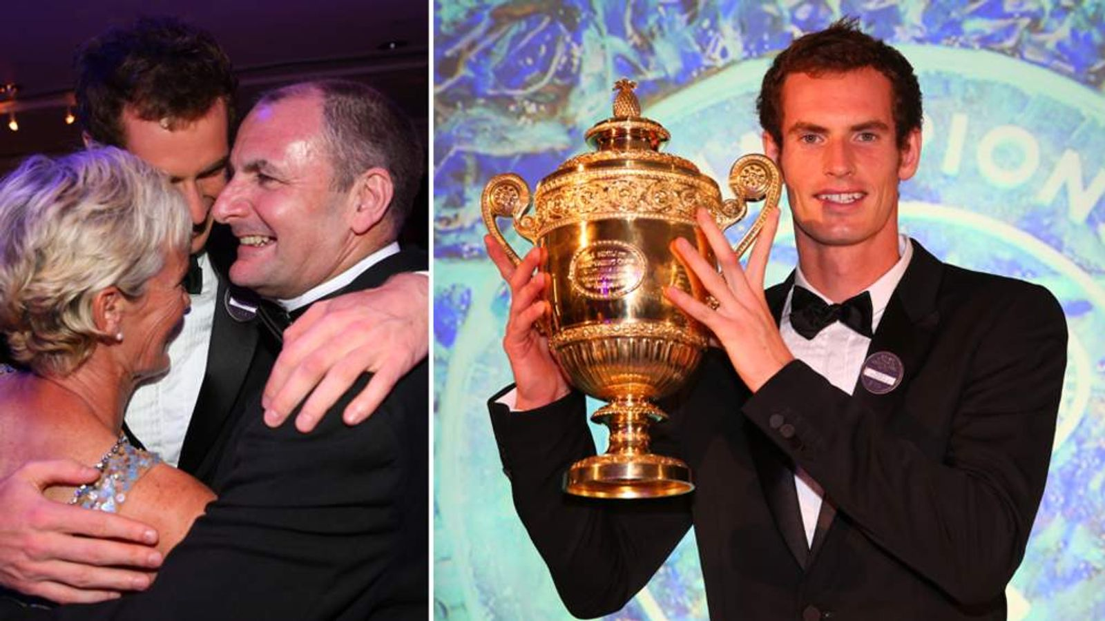 Andy Murray celebrates at a post-Wimbledon party