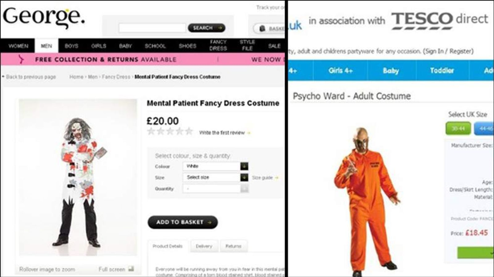 Asda & Tesco mental patient psycho fancy dress costumes