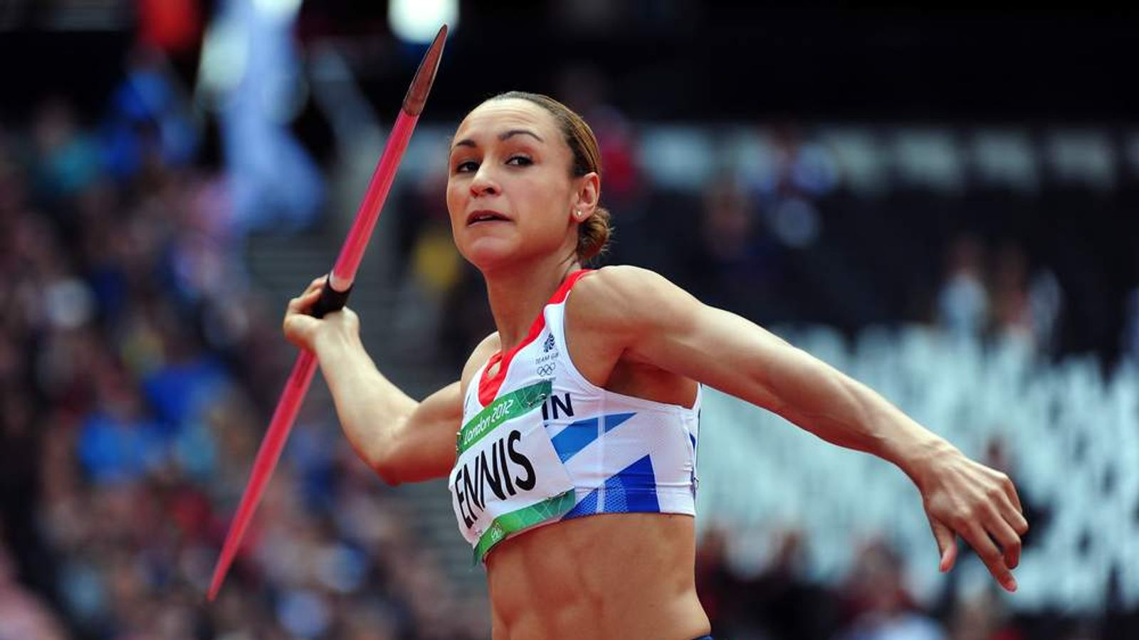Jessica Ennis of Great Britain competes in the Women's Heptathlon Javelin Throw