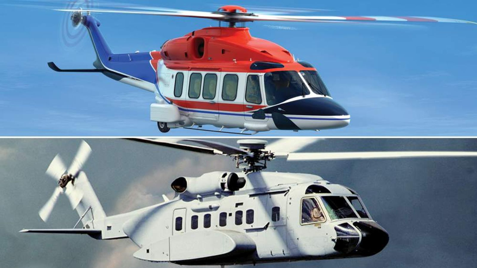 The AgustaWestland AW189 (top) and the Sikorsky S-96 (bottom)