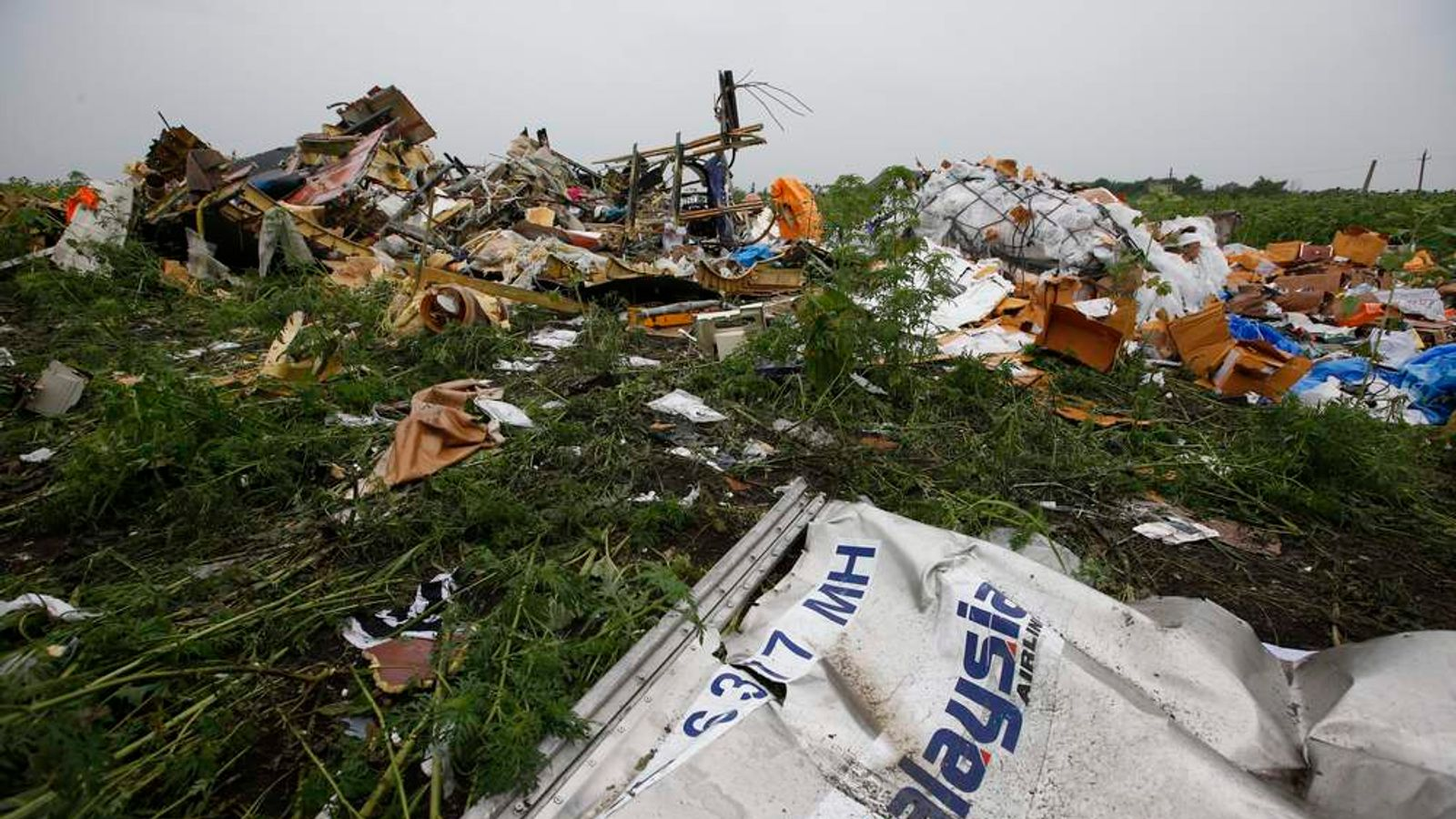 Wreckage from the nose section of a Malaysian Airlines Boeing 777 plane which was downed on Thursday is seen near the village of Rozsypne