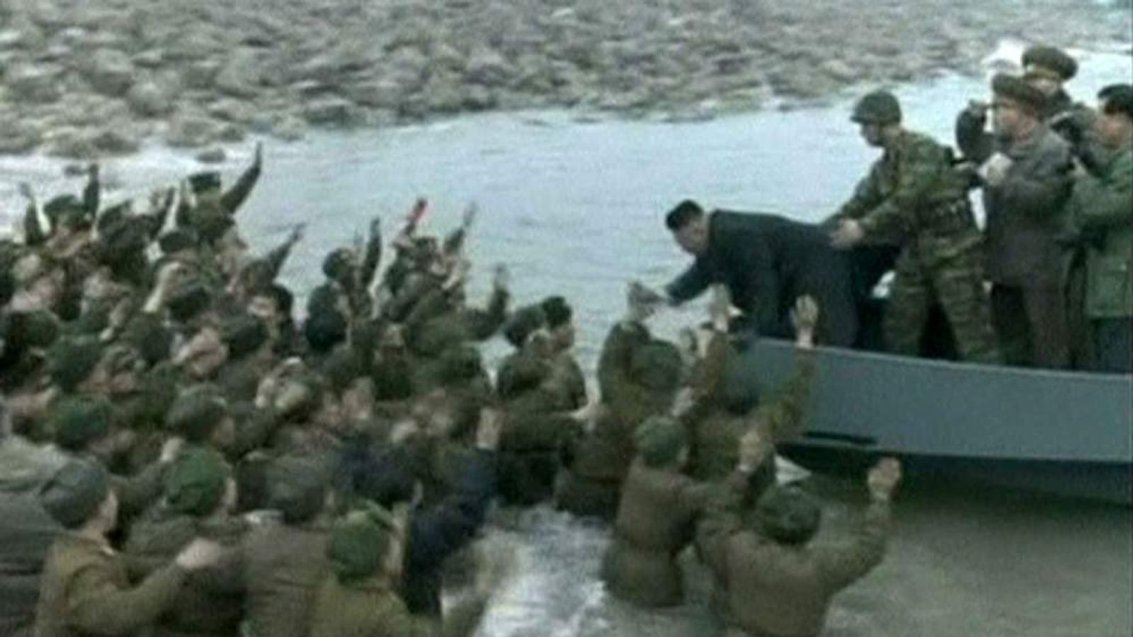 Kim Jong-Un meets troops