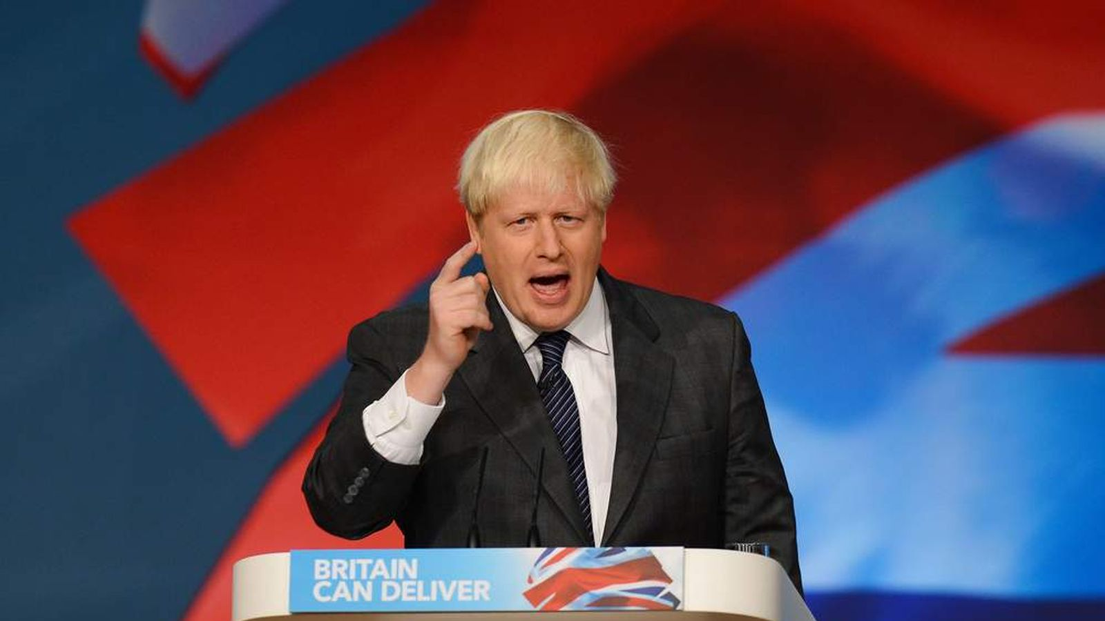 Boris Johnson speaking at Tory party conference