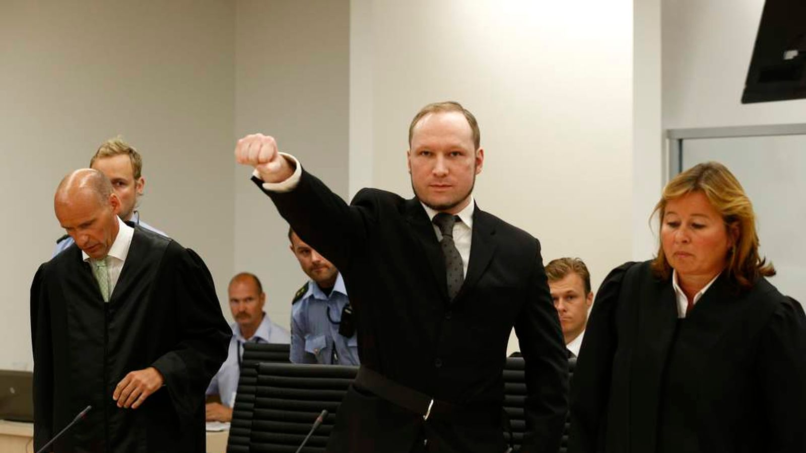 Breivik gestures