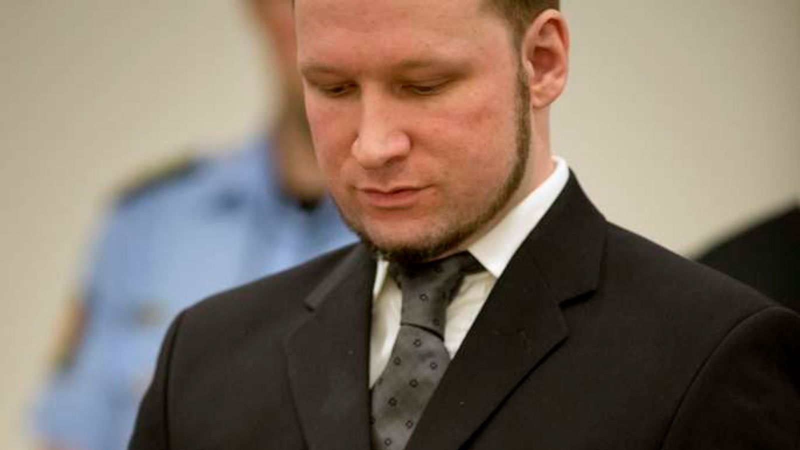 Breivik in the court on the day he was sentenced.