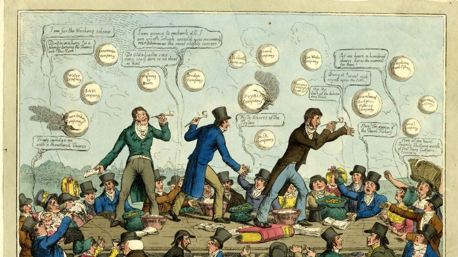 Eager buyers hand gold and notes, in return for shares in bubble-companies, 1825