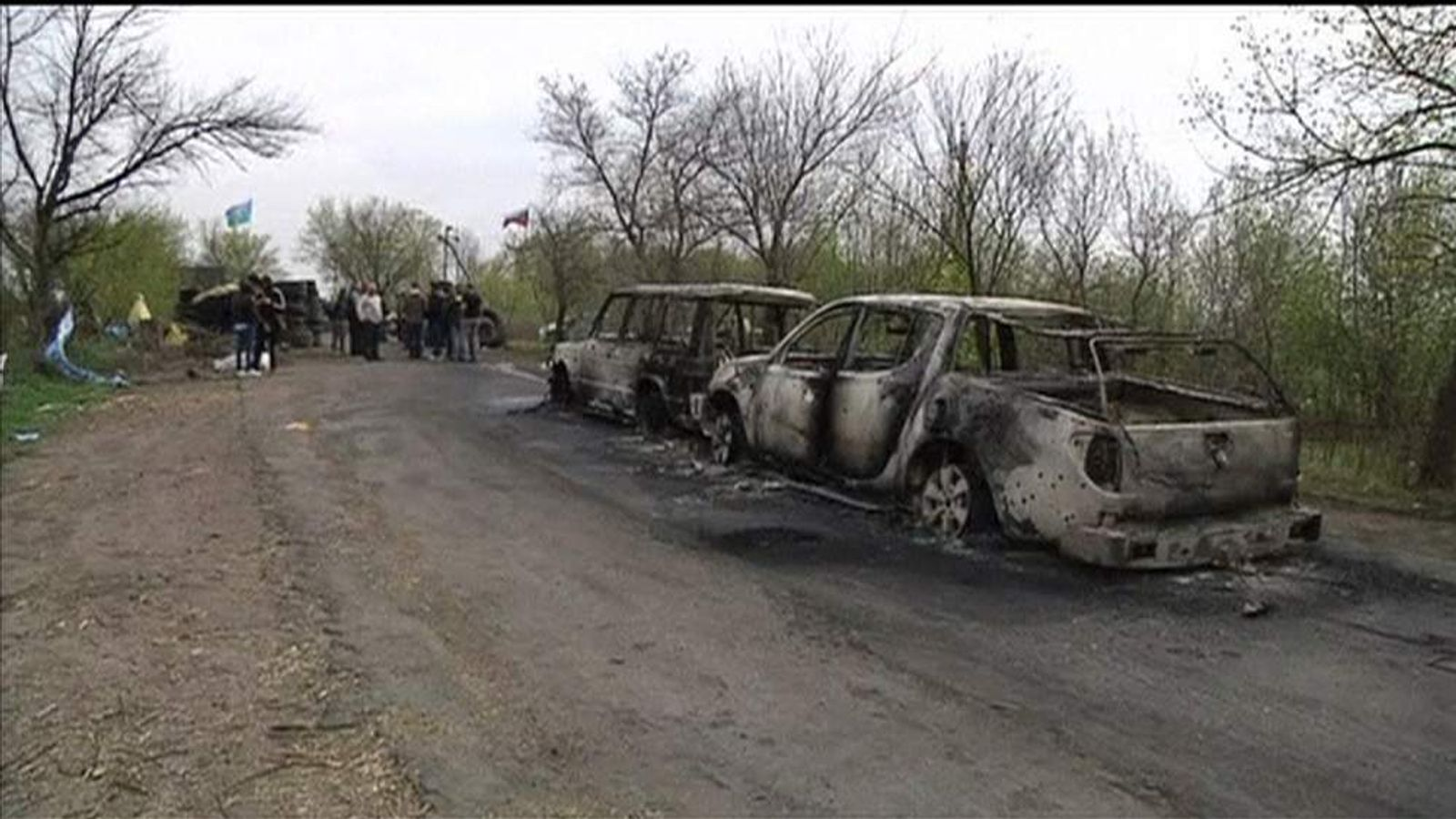 The checkpoint where a shootout took place in eastern Ukraine