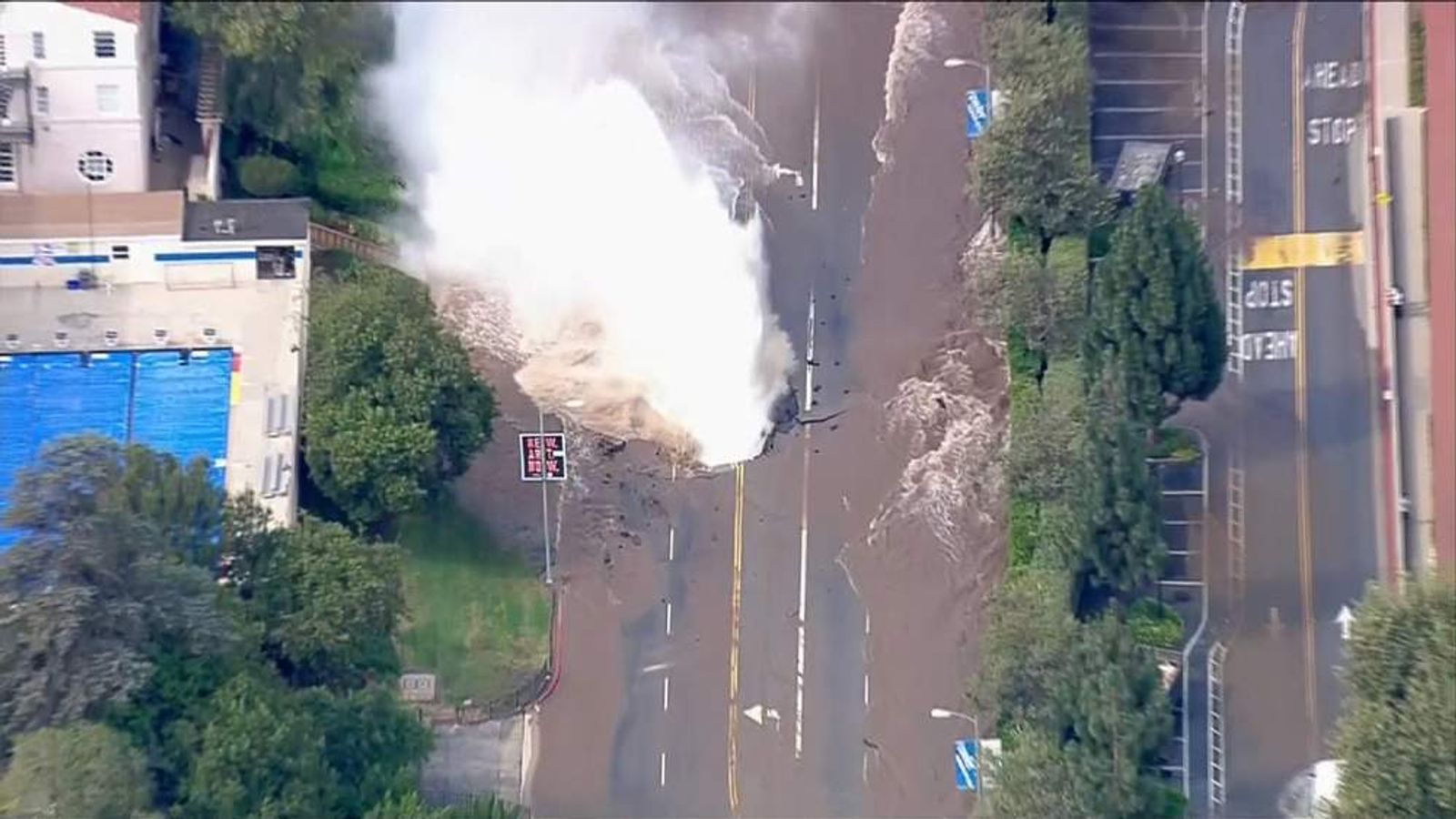 The burst main on Sunset Boulevard