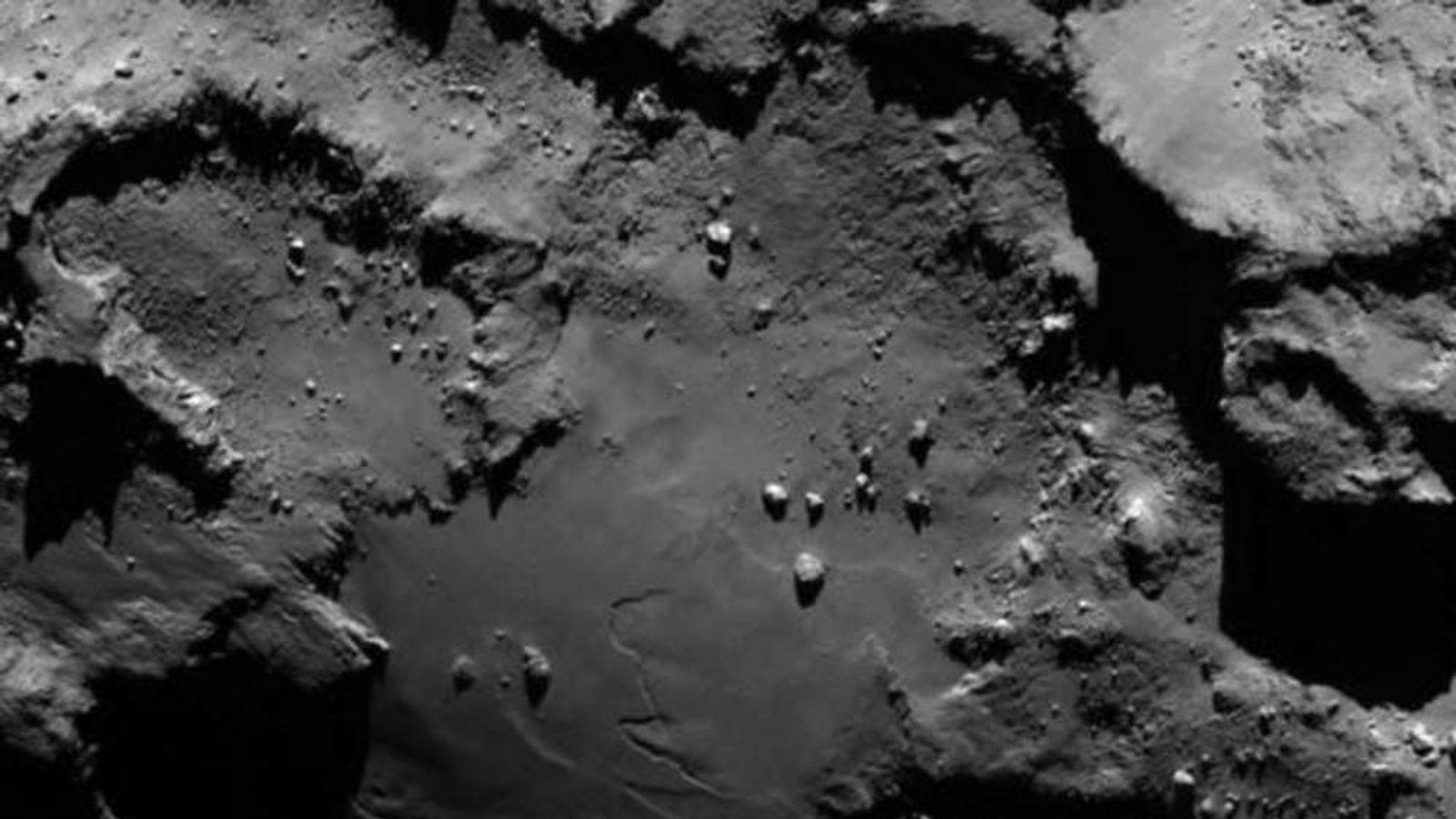 The 67P/Churyumov-Gerasimenko comet as shot from the Rosetta probe.