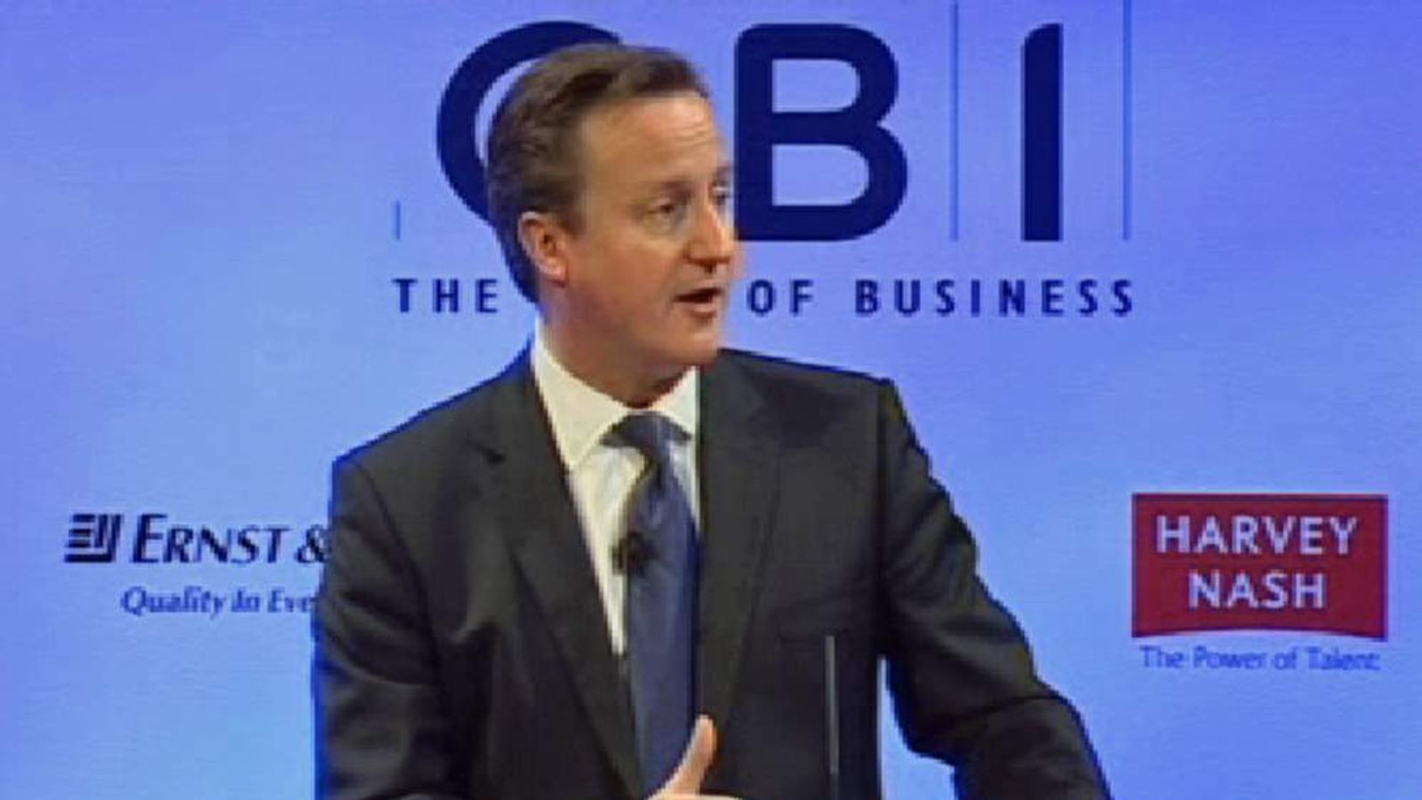 Prime Minister David Cameron speaking at the CBI conference