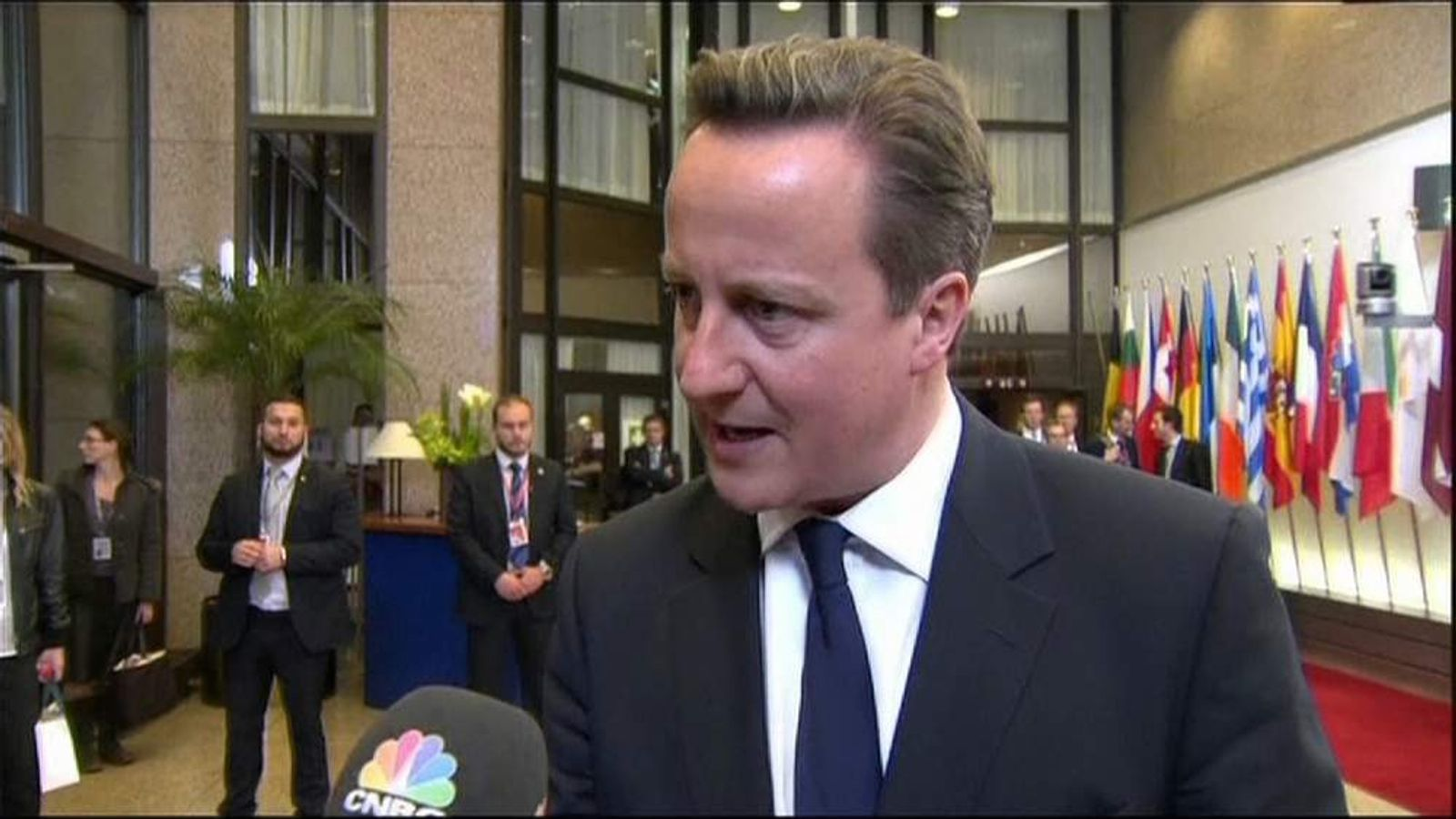 Prime Minister David Cameron after a meeting of EU leaders over Ukraine.