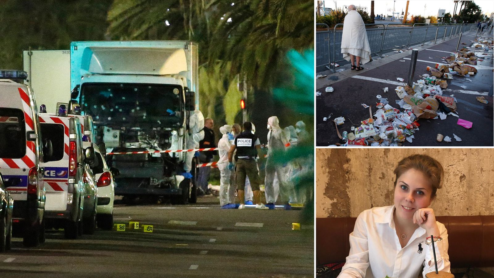 The aftermath of a terrorist attack in Nice, France