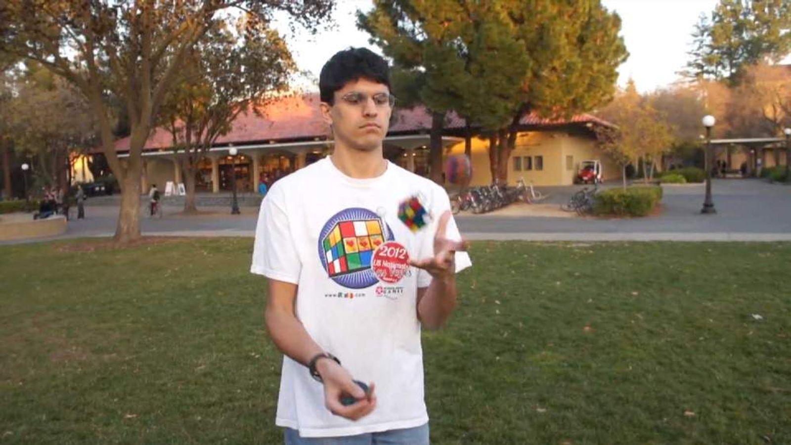 Rubik's Cube juggler