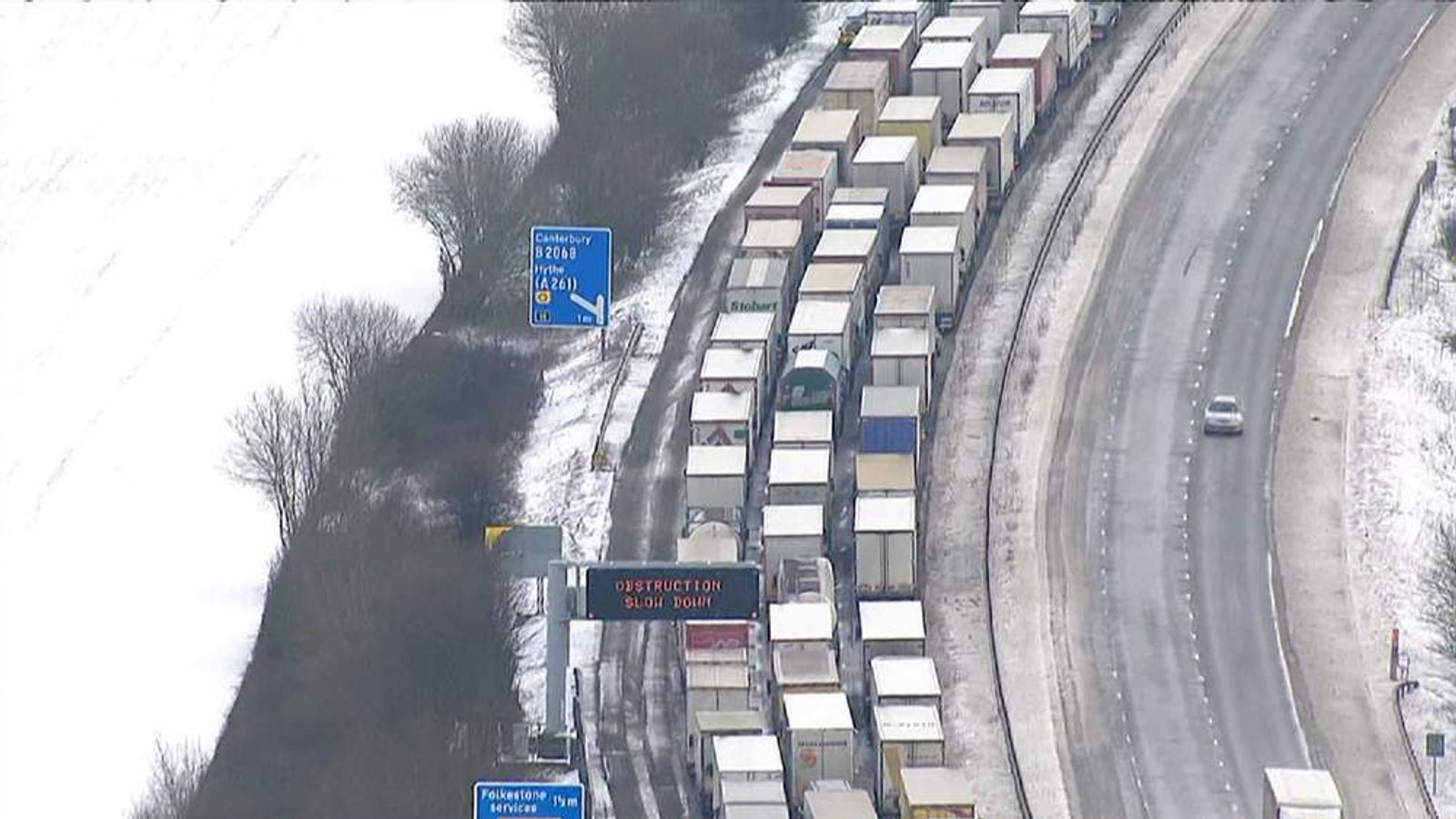 Gridlock on M20 in Kent after heavy snow