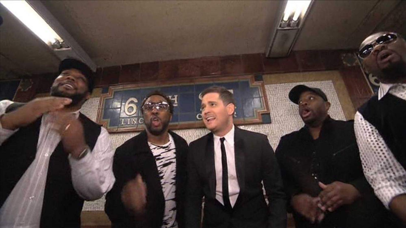 Michael Buble singing in New York subway