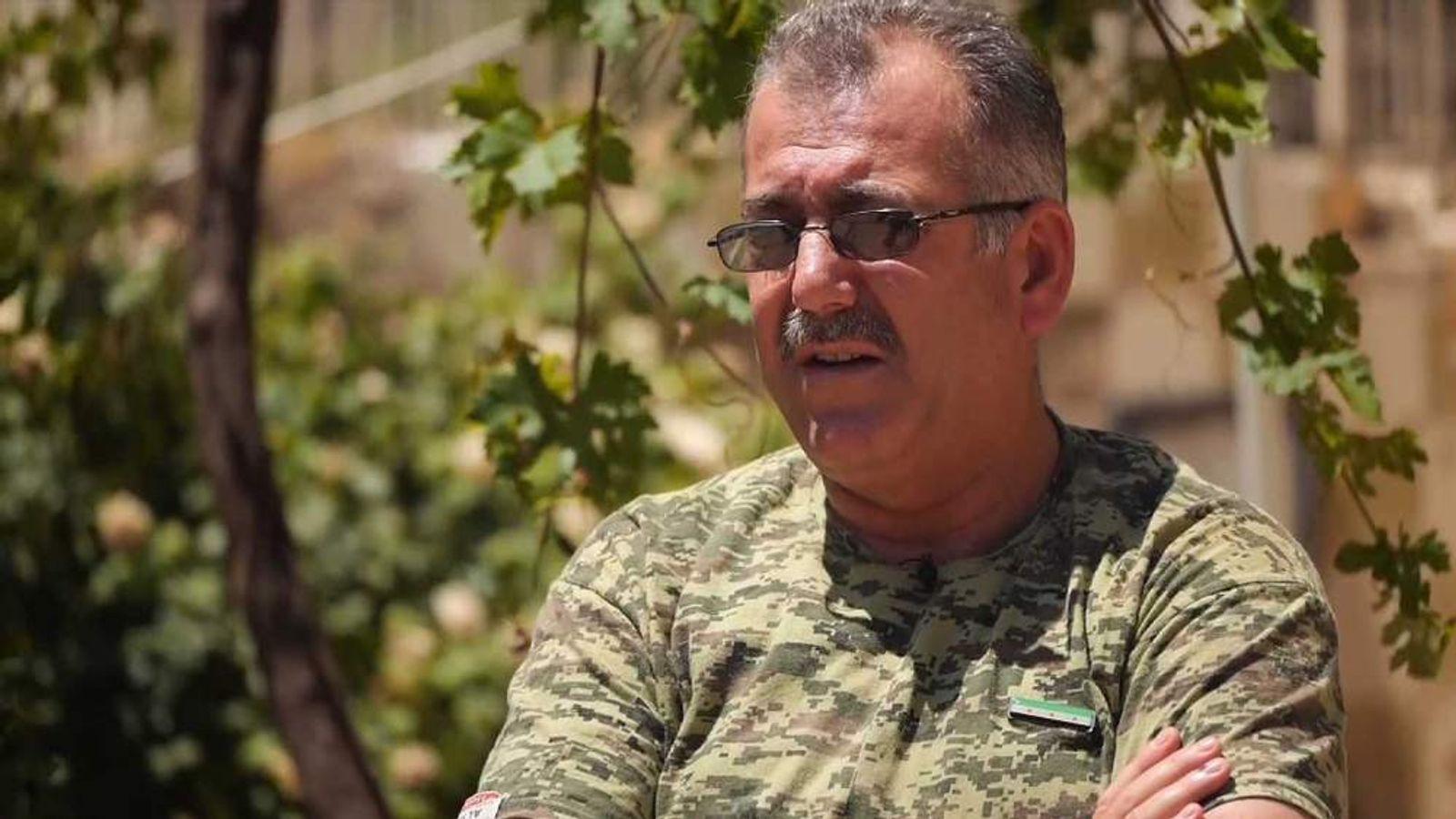 Colonel Abdul al Aygedi, commander of rebel forces in Aleppo, Syria