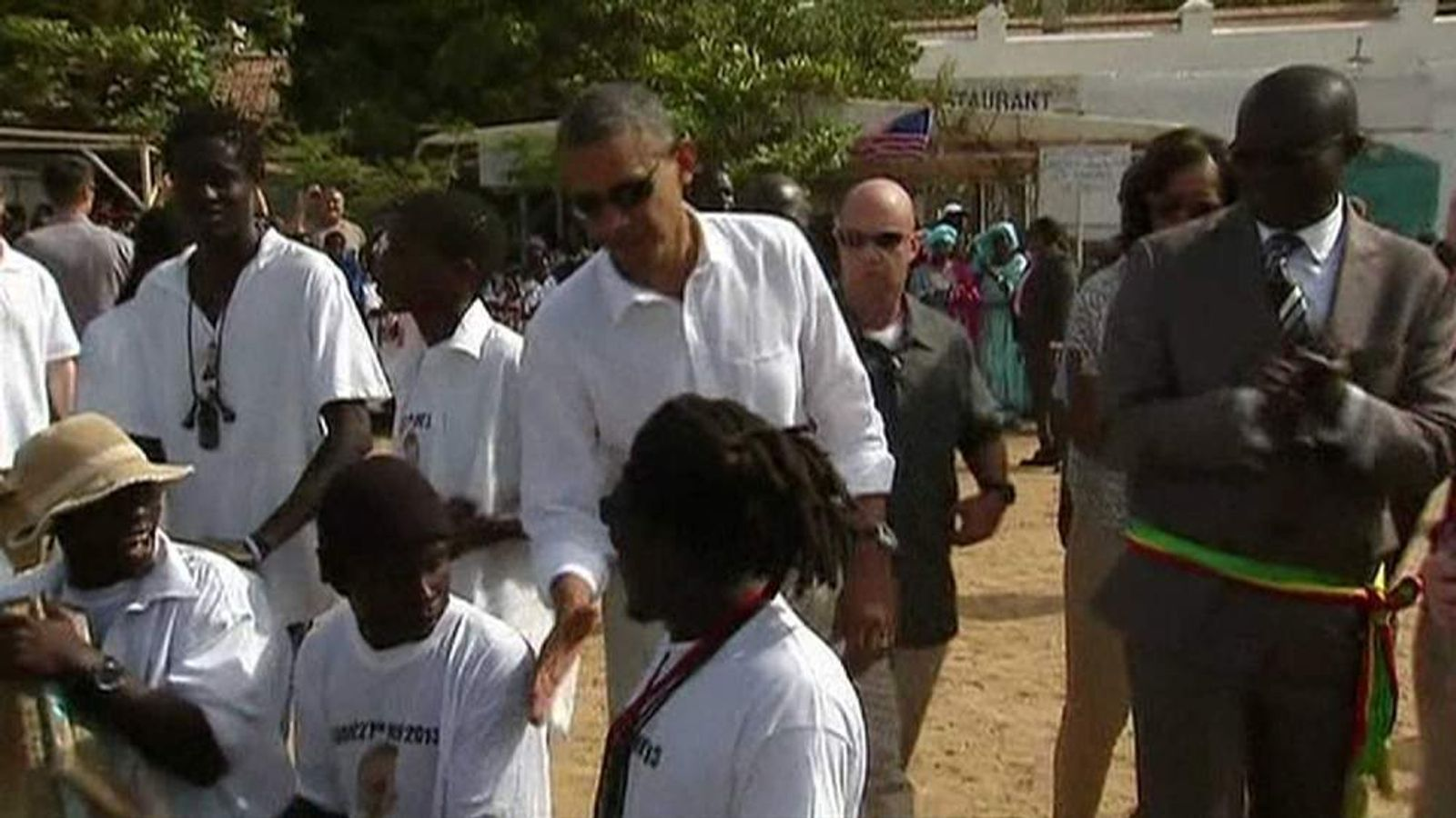 President Obama meets locals during visit to Senegal
