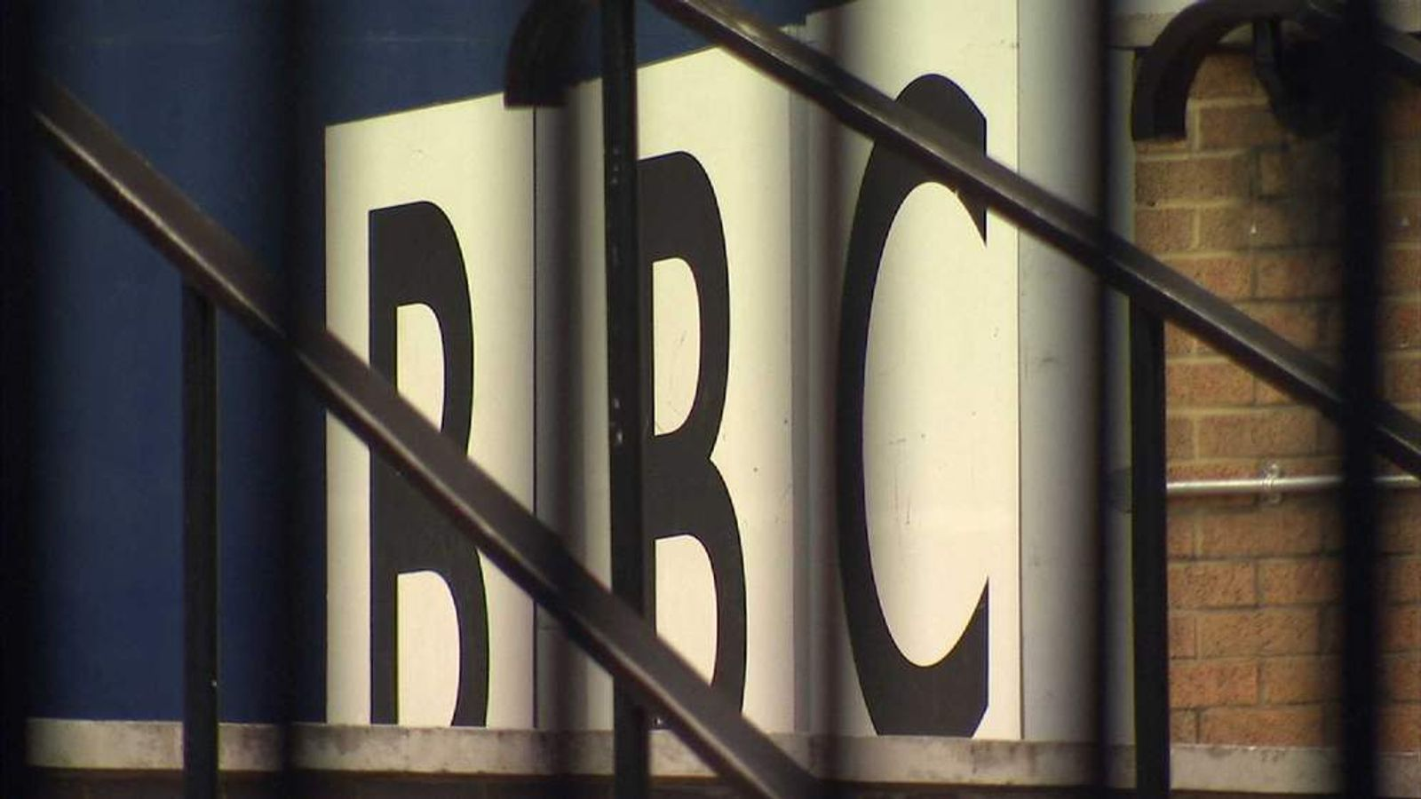 BBC sign at television centre in west London