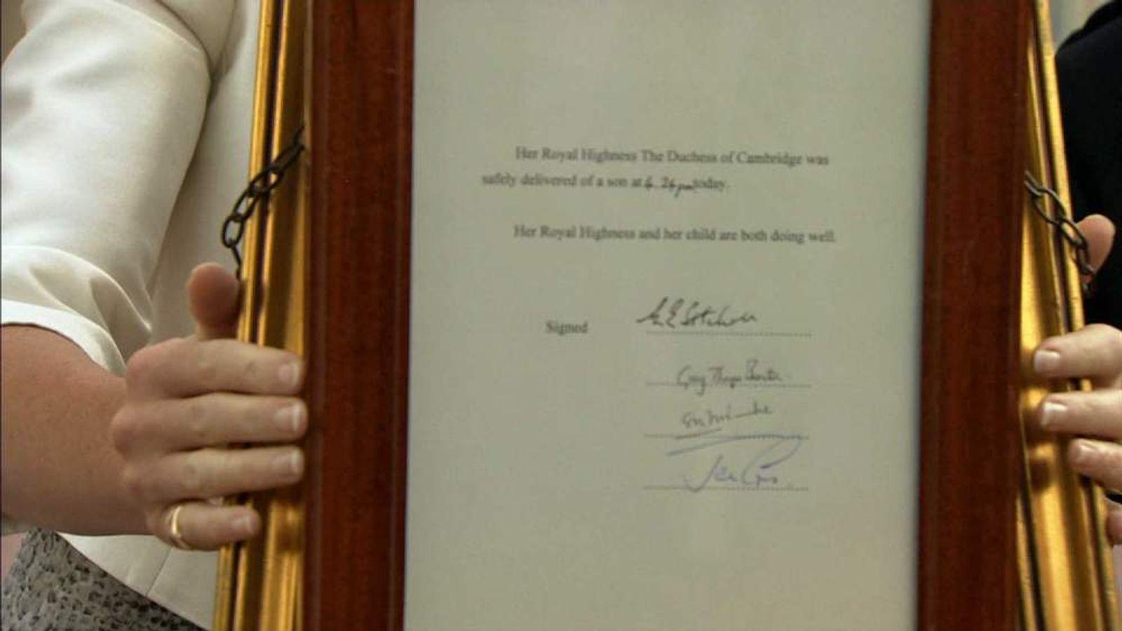 Notice of birth Buckingham Palace