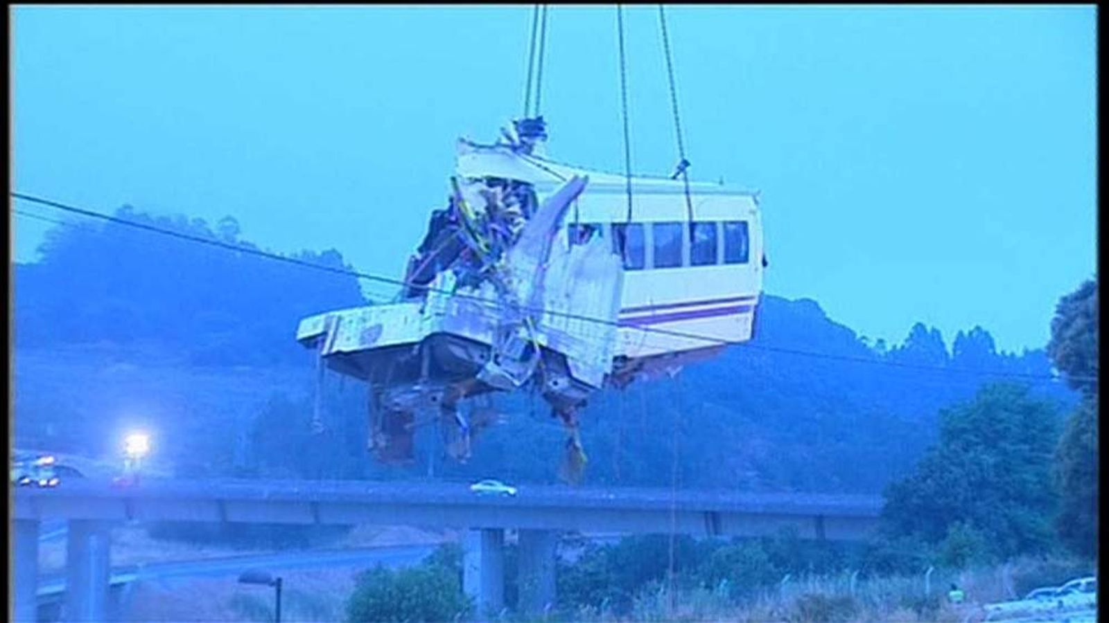 Spain train crash carriage lifted from tracks