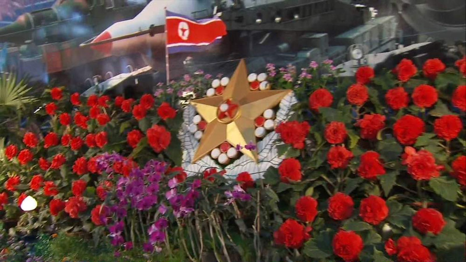 North Korea flower display for the Great Leader