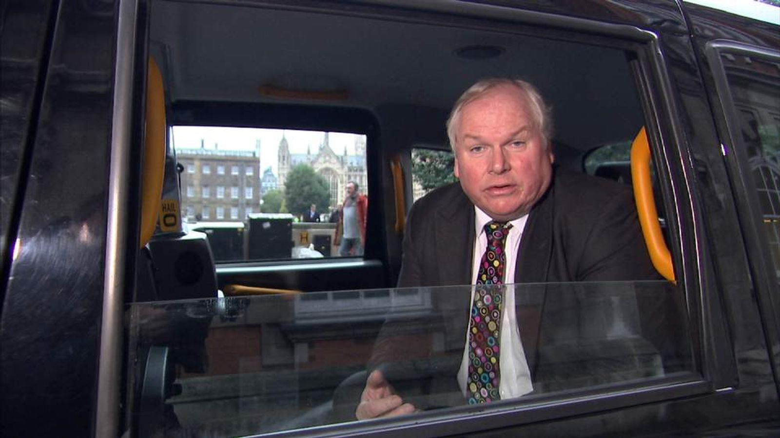 Adam Boulton in a taxi