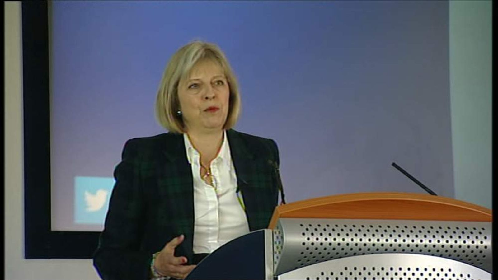 Home Secretary Theresa May addressing police conference