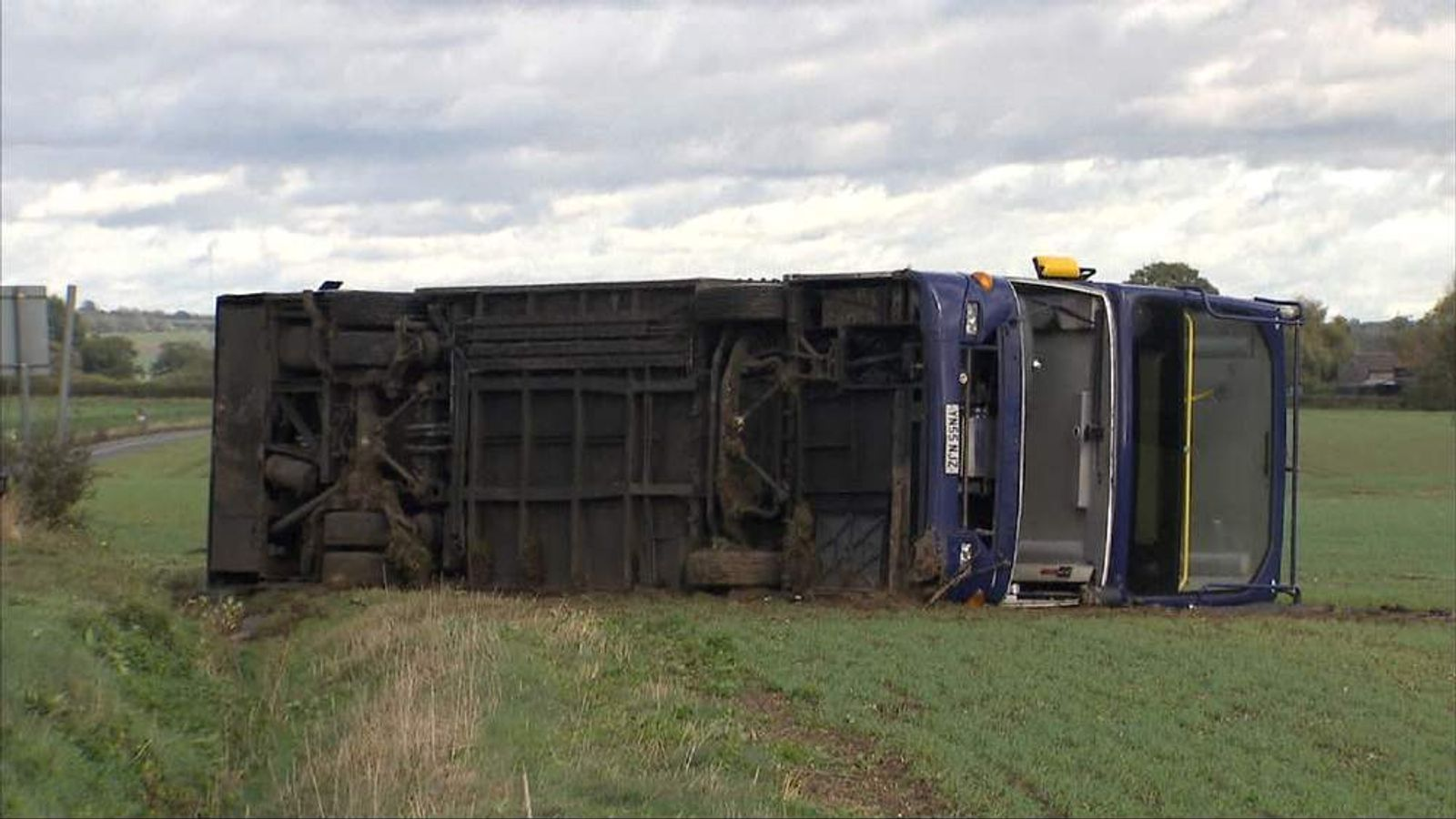 Bus overturned by storm in Suffolk