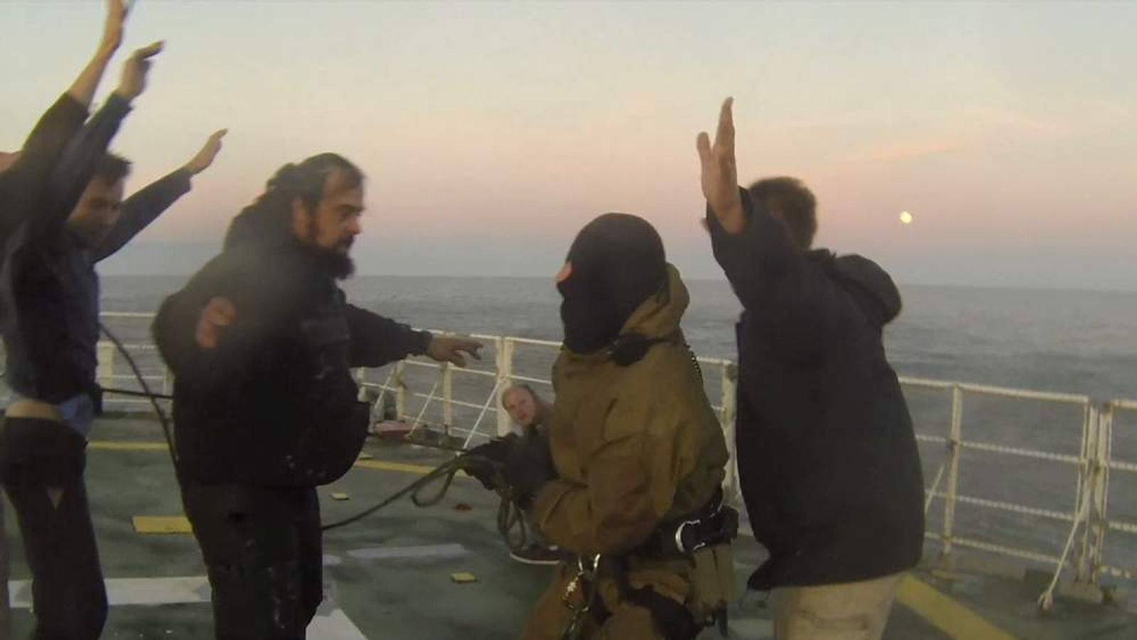 Greenpeace Arctis Sunrise boarding by coastguard
