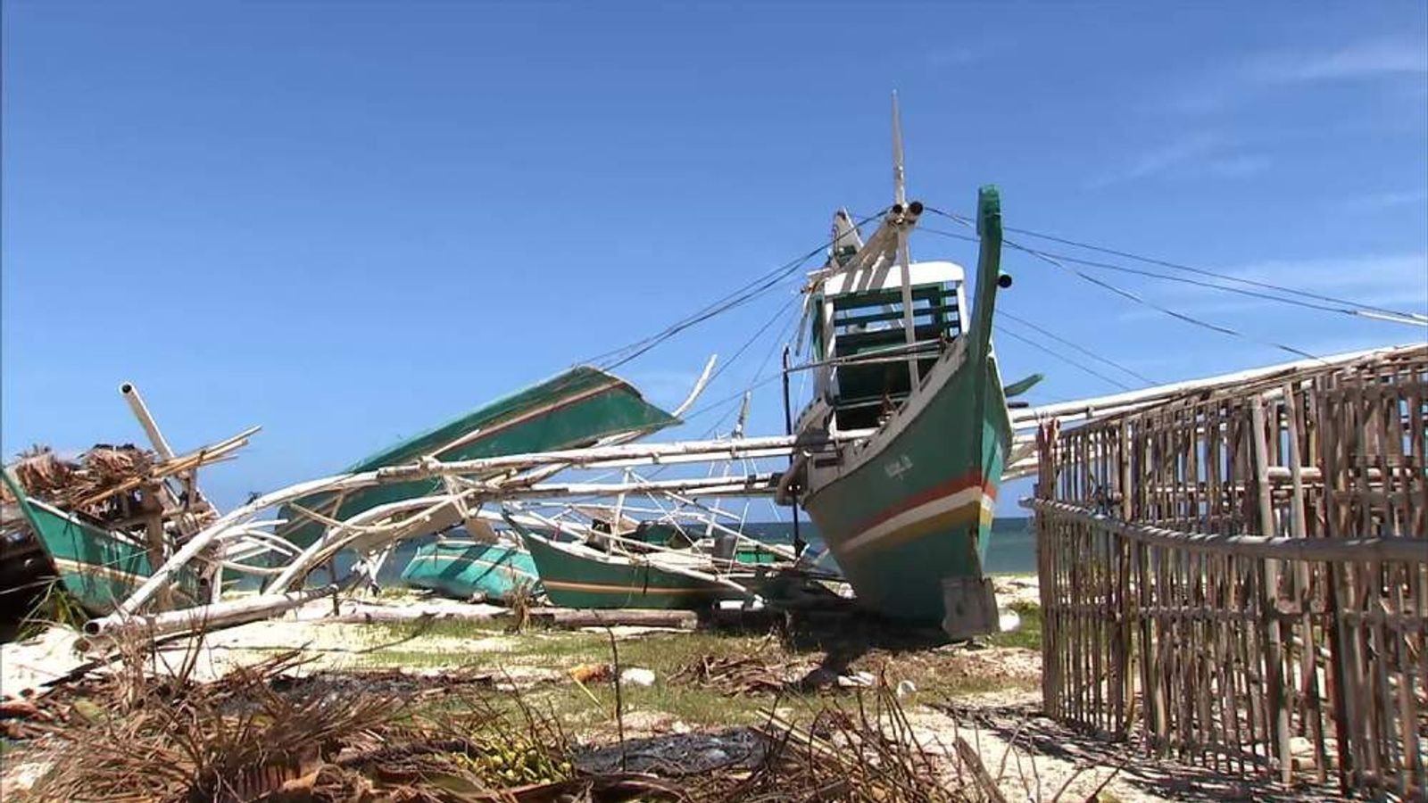 A damaged fishing boat