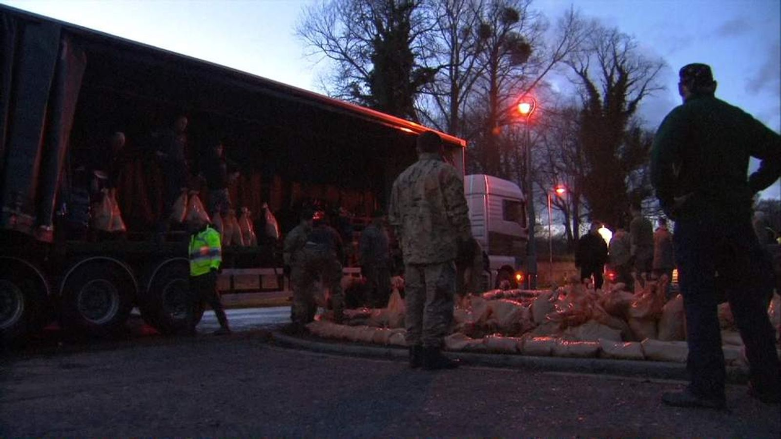 Sandbags being deployed in Datchet