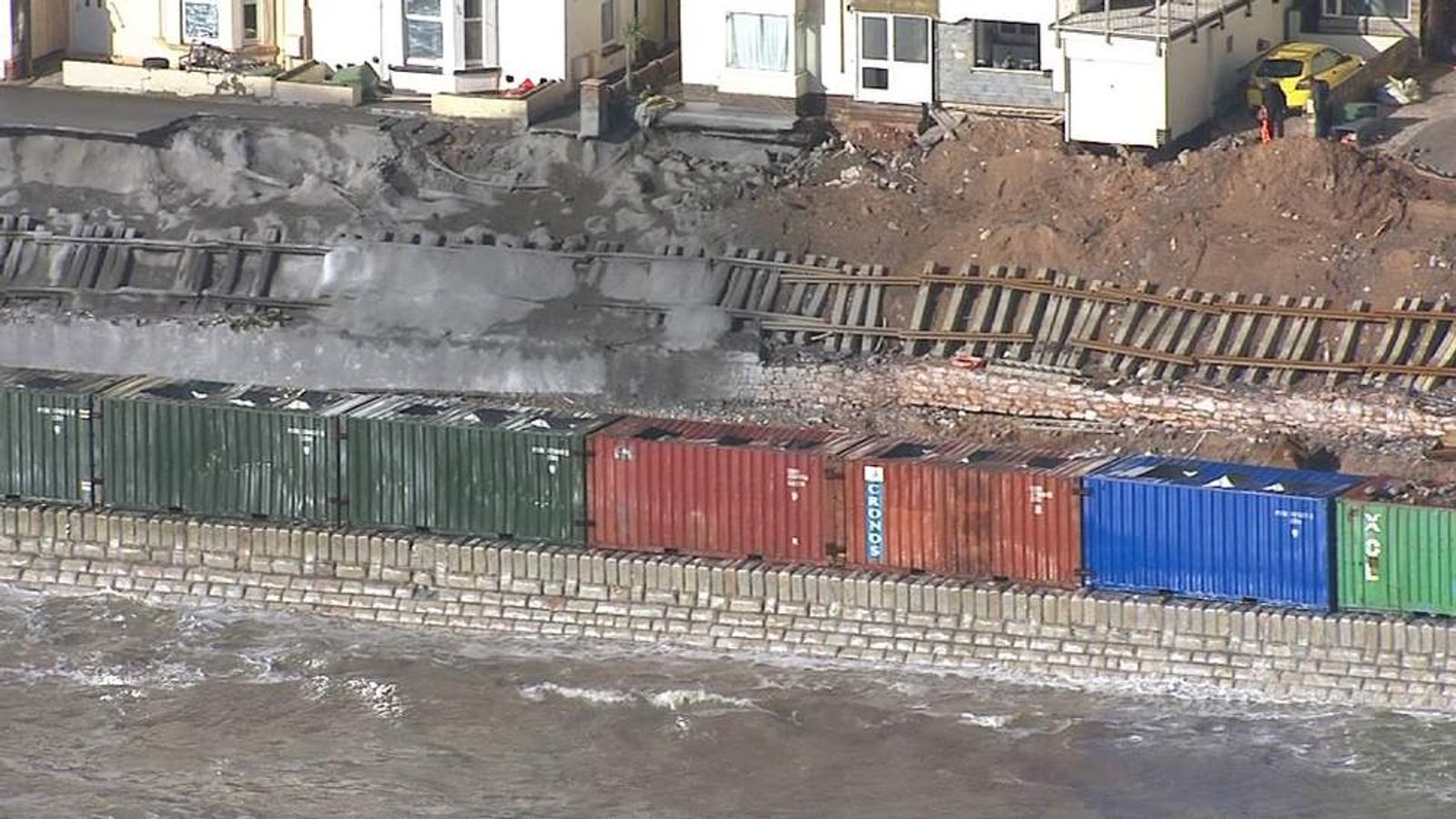 Concrete filled containers protecting the rail tracks at Dawlish