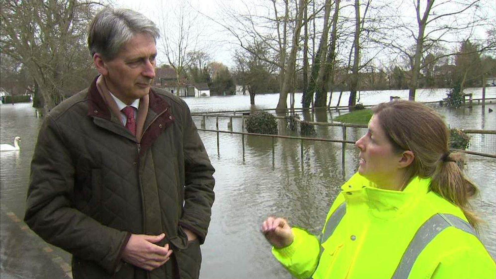 Defence Secretary Philip Hammond and Wraysbury flood coordinator Su Burrows