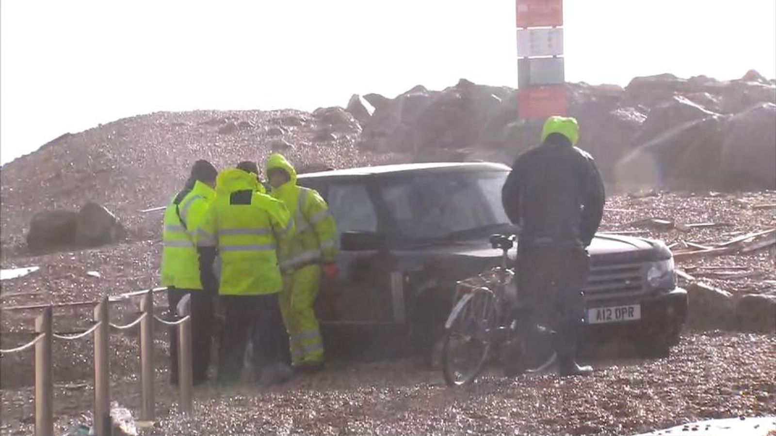 A car stranded in shingle in Milford-on-Sea, Hampshire