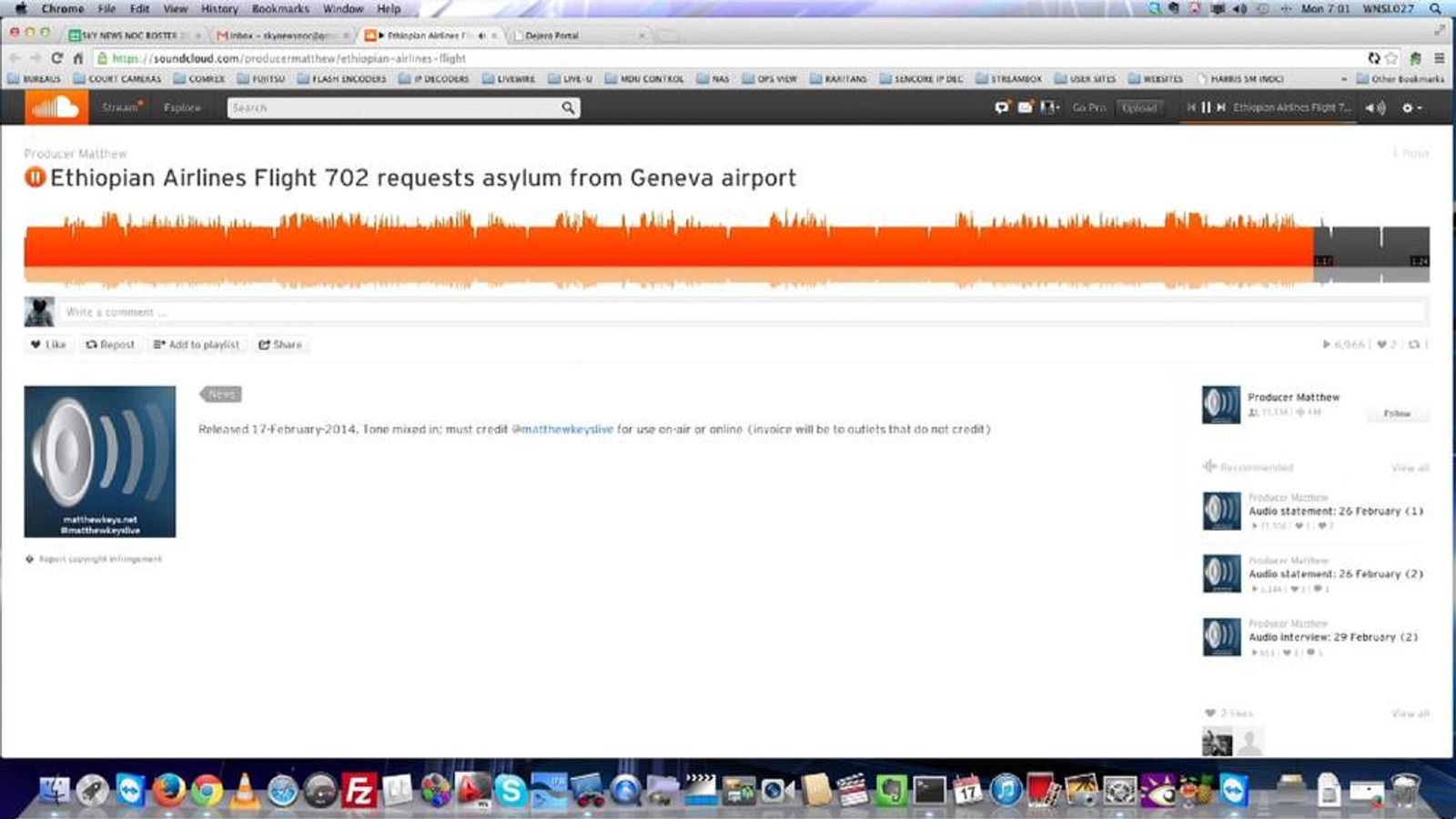 Geneva hijack audio recording aircraft control tower