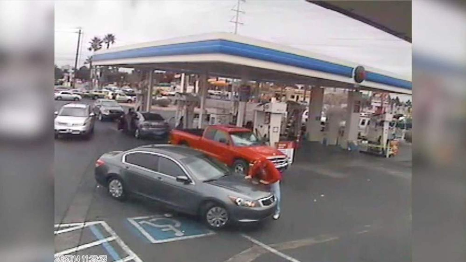 A man has been hit by a car at a Las Vegas petrol station