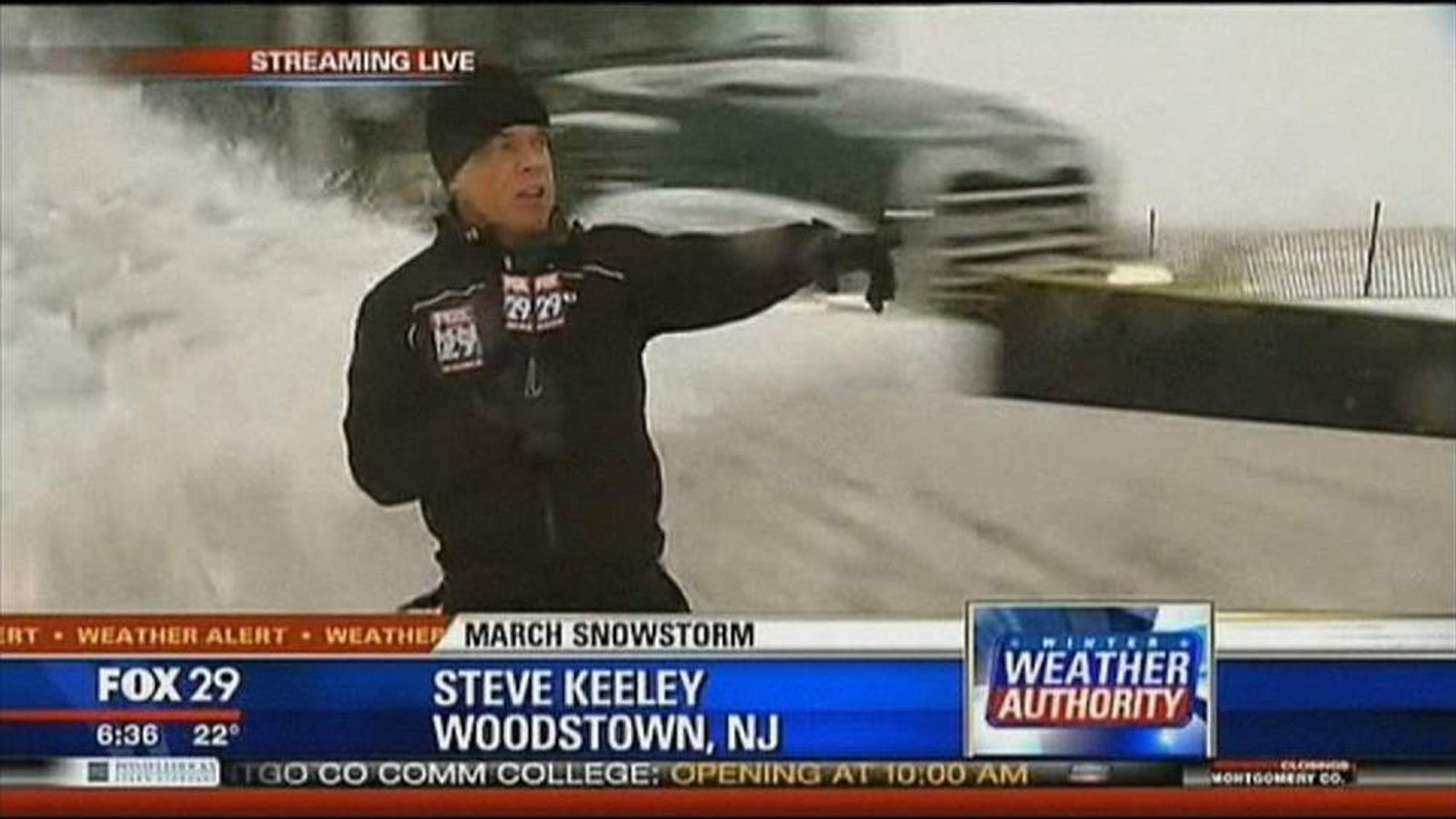 Snow plough wipes out TV reporter