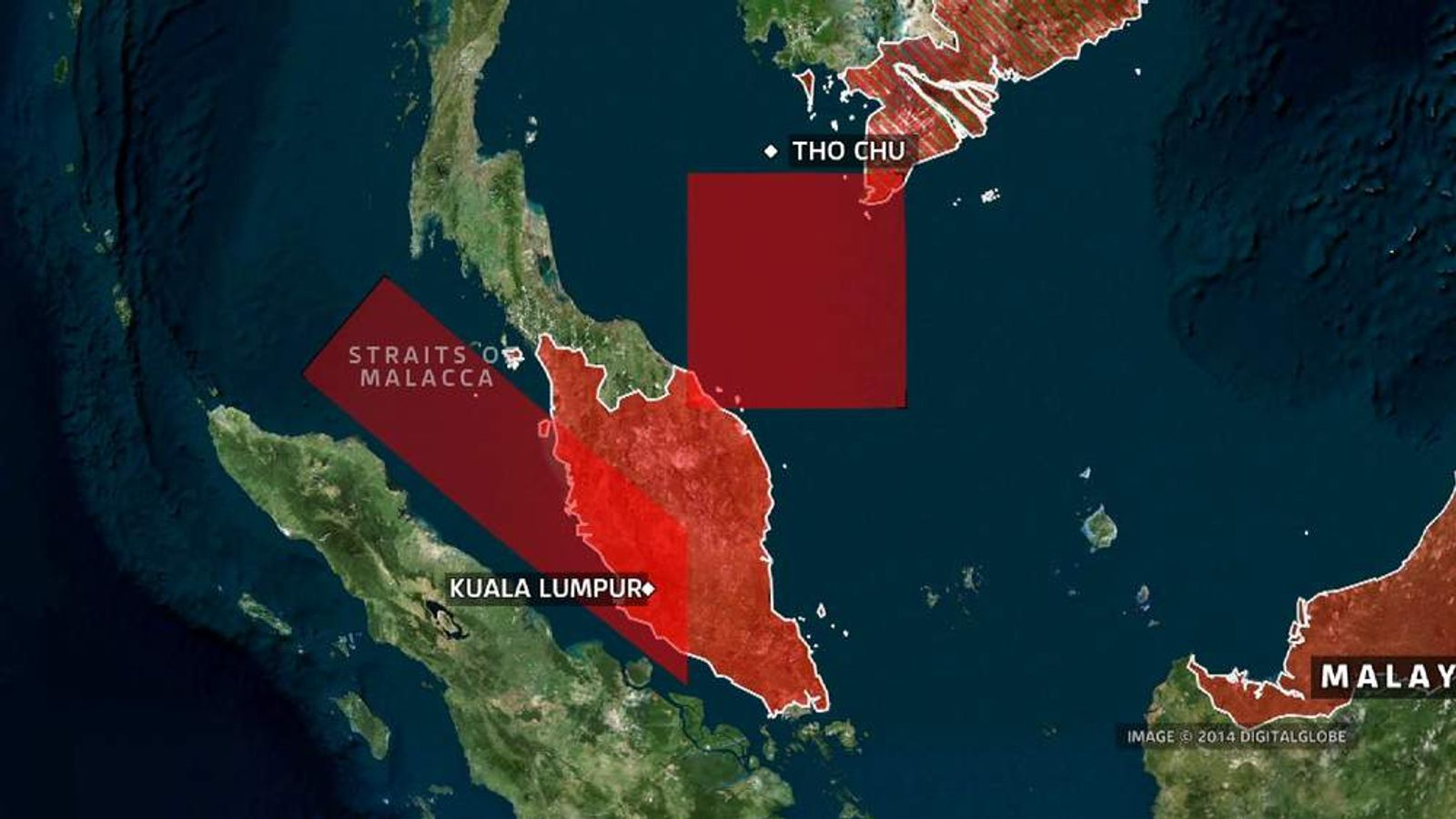 Malaysia airlines plane search area