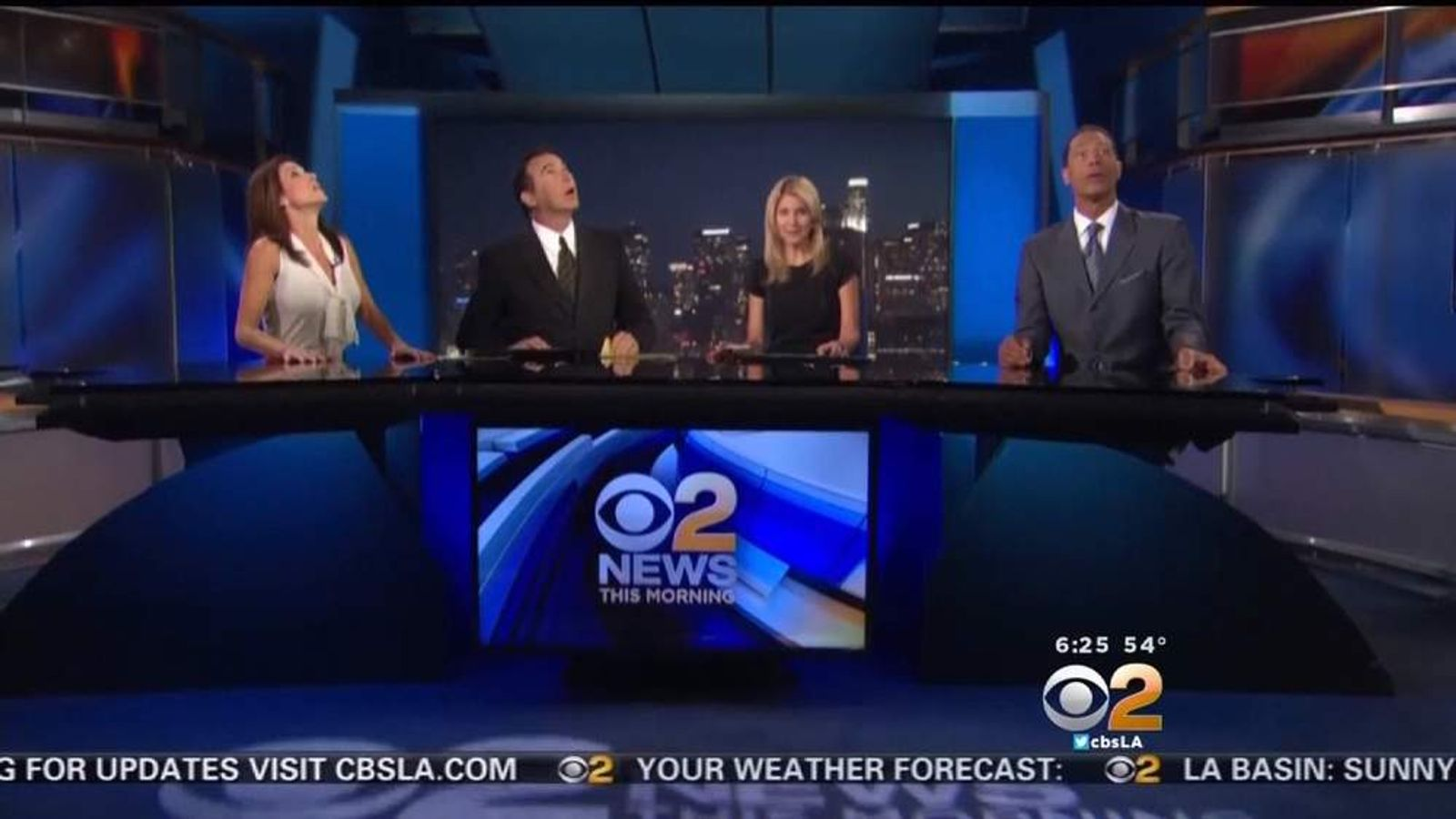 KCBS Anchors stop presenting as quake rocks their LA studio