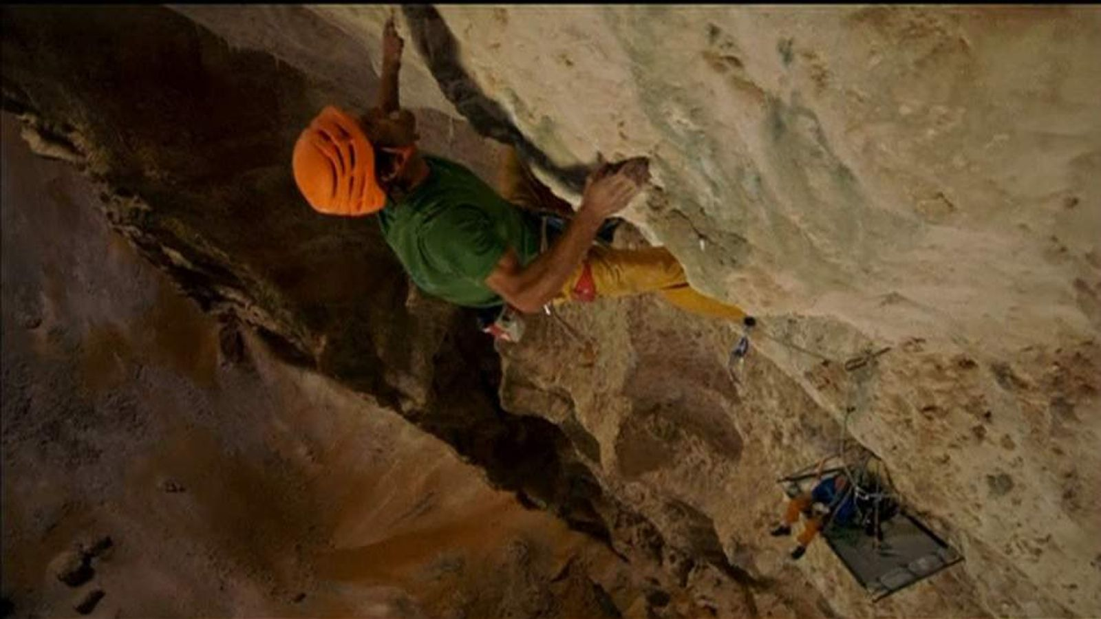 Two climbers ascend one of the world's biggest cave chambers
