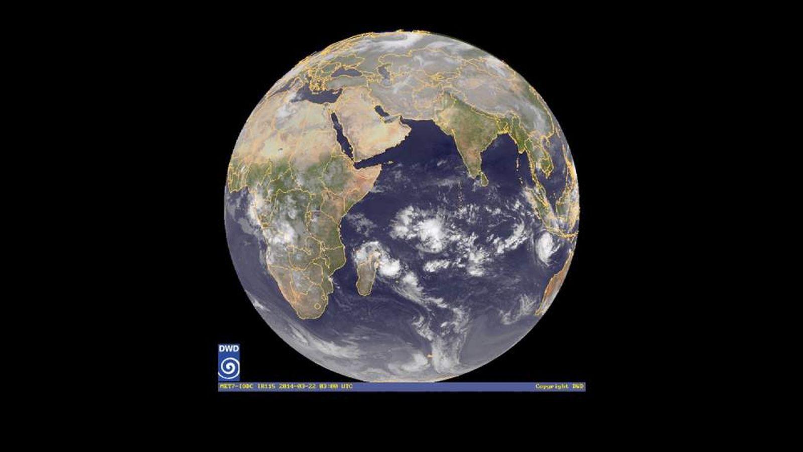 Tropical cyclone hitting Indian Ocean
