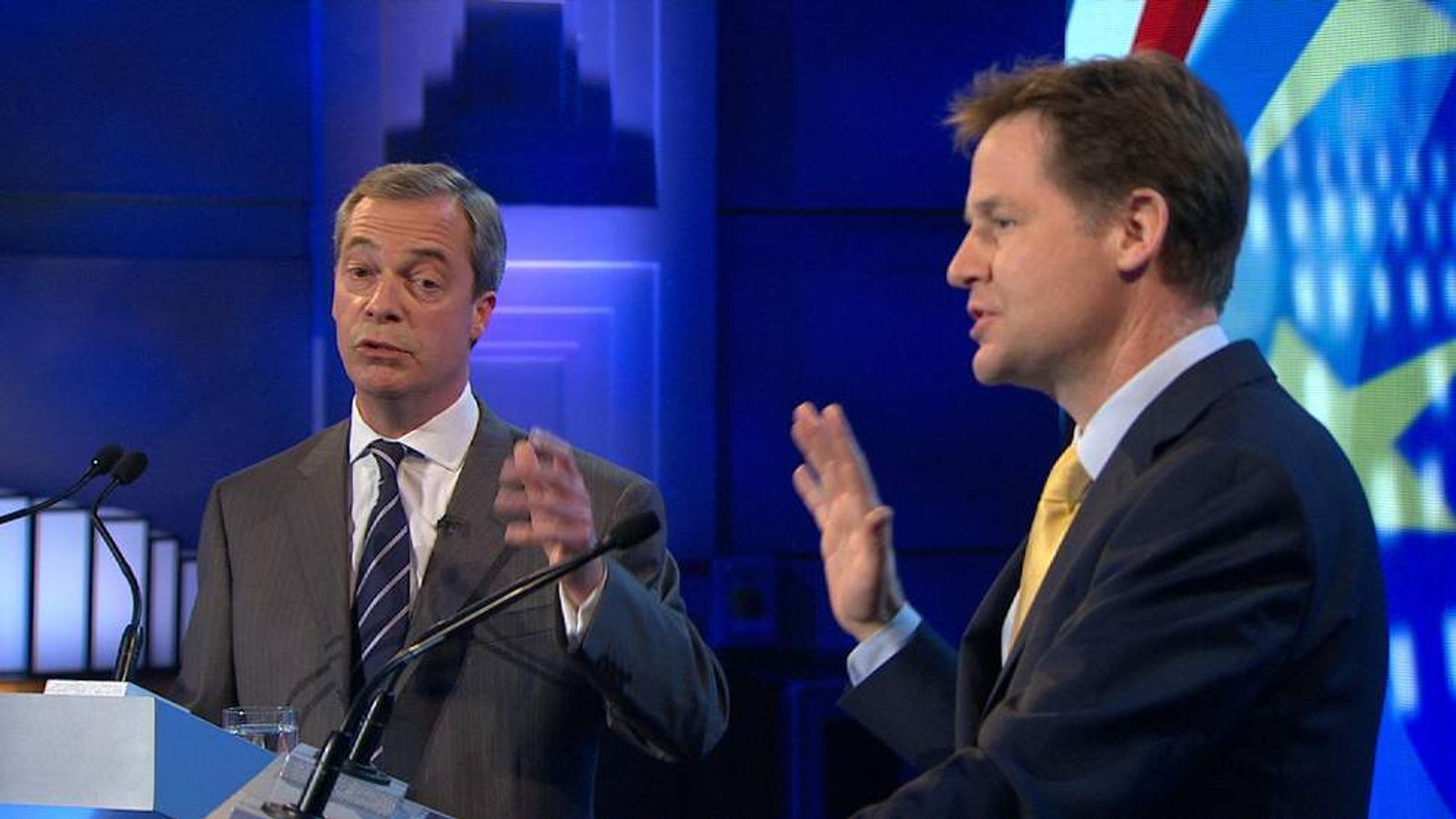 Nick Clegg and Nigel Farage EU debate