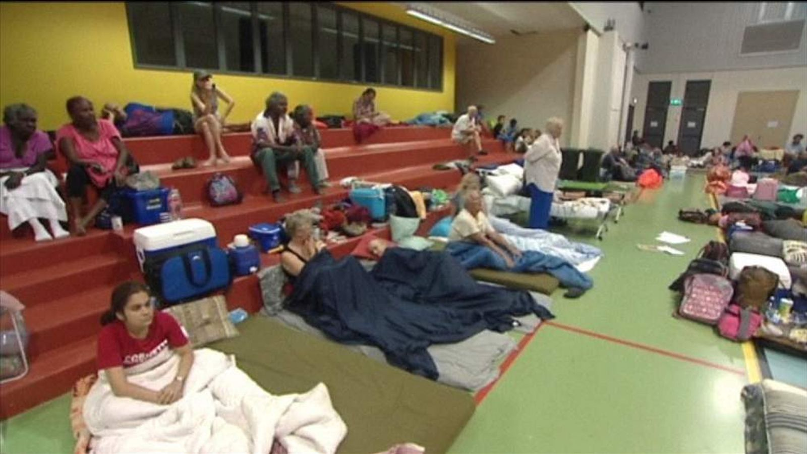 People in emergency shelter in northern Queensland, Australia