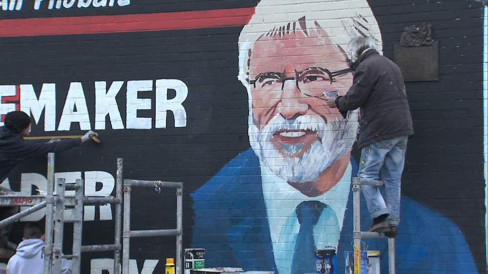 Mural of Gerry Adams is painted on Belfast's Falls Road