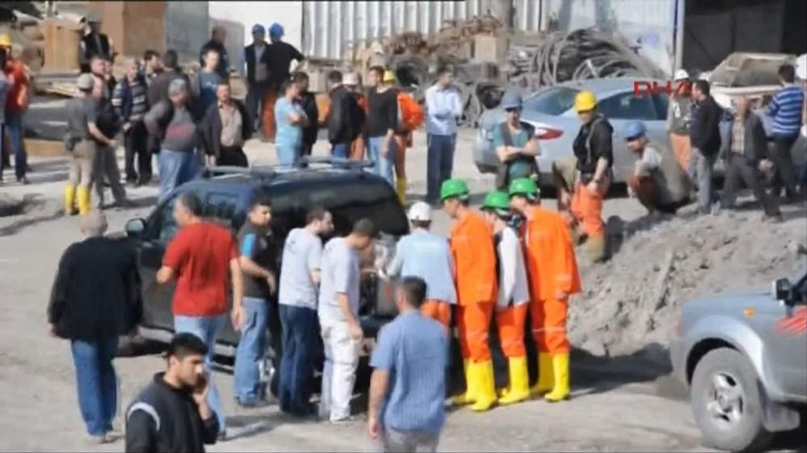 Rescue workers at the scene of an explosion at a coal mine in Soma, Turkey