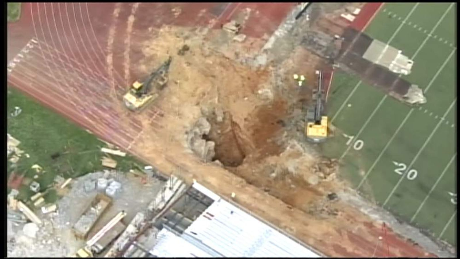 A sinkhole opens up on a Texas' university football field